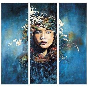 "Glazen wanddecoratie ""Lady in blue"""