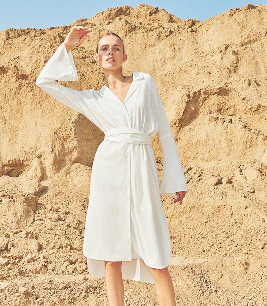 Just Female Lazer shirt dress optical white