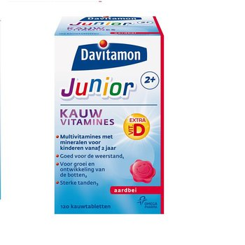 Davitamon Junior 2+ Kauw  Aardbei - 60 stuks