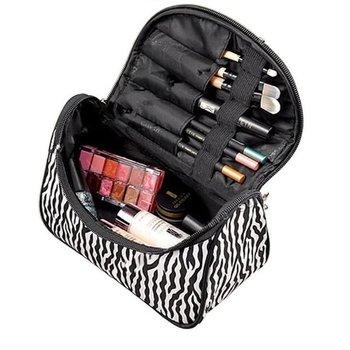 Zebra Make Up Tasje Met Spiegel - Opberg Etui / Cosmetica Organizer Reis Tas / Make up opberg tas