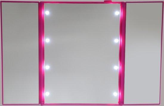 Roze LED Make-up Spiegel met verlichting 8 Led lichtjes - Postdrogist
