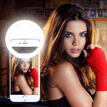 Selfie Ring Light Clip / Led Lamp / 3 Standen / Oplaadbaar / Flashlight / Ring Lamp / Verlichting in Wit / Selfie camera verlichting inclusief oplaadkabel
