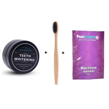 Activated Organic Charcoal Teeth Whitening Natural / Tanden Witten + Gratis Bamboo Tandenborstel + Postdrogist Blackhead masker 6g