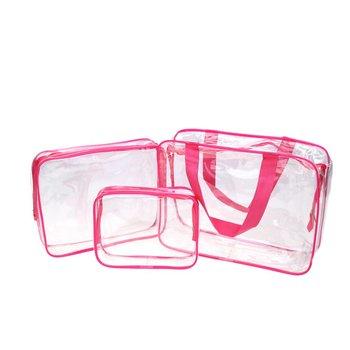Transparante Roze Toilettasjes 3 delig