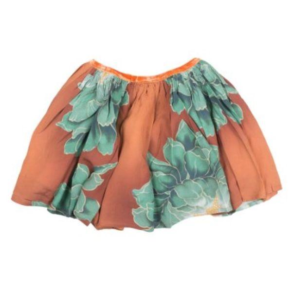 Gebloemde rok - groen/oranje