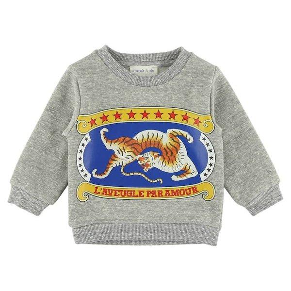 Sweatshirt - Gemêleerd Grijs met Print
