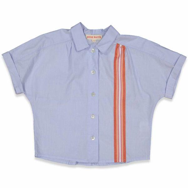 Blouse blauw met oranje