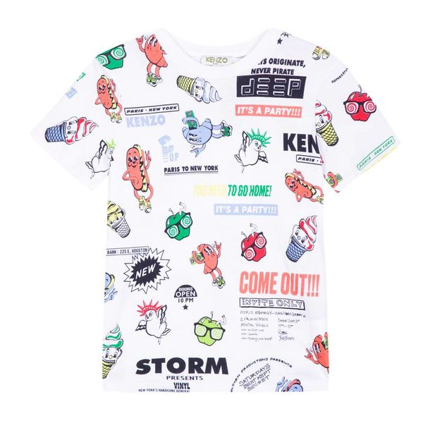 Wit t-shirt met all over print