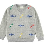 Simple Kids Sweater met  haaien en surfborden