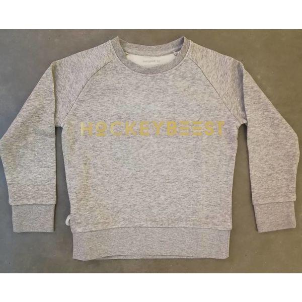 Sweater Hockeybeest grijs-goud