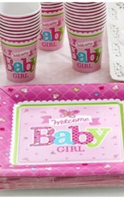 Welkom baby girl roze feestartikelen