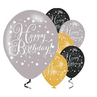 happy birthday ballonnen goud - zwart