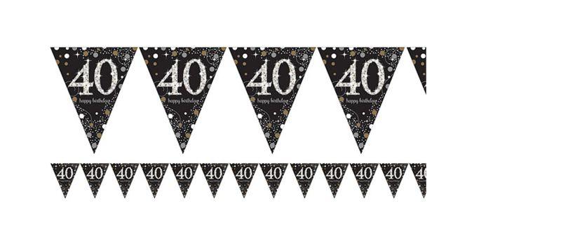 vlaggetjes 40 jaar 40 jaar vlaggetjes goud | J Style Deco.nl | De online feestwinkel  vlaggetjes 40 jaar