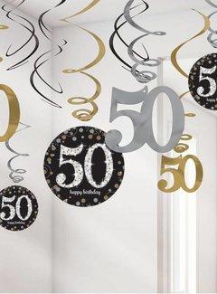 50 jaar feestartikelen 50 jaar Swirl slingers goud | J Style Deco.nl | De online  50 jaar feestartikelen