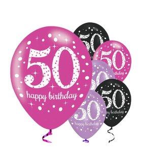 50 jaar ballonnen roze