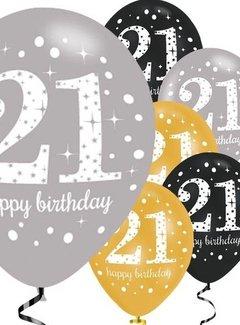 afbeelding 21 jaar 21 jaar ballonnen zwart/goud | J Style Deco.nl | De online  afbeelding 21 jaar