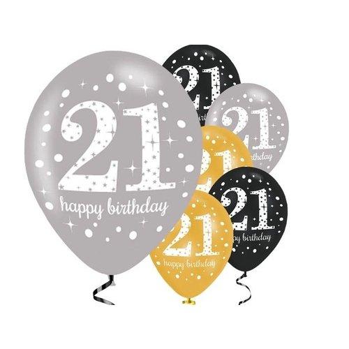 21 jaar ballonnen zwart/goud