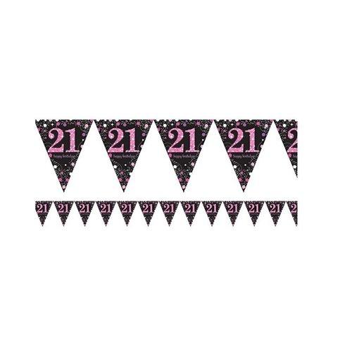 21 jaar vlaggetjes roze/zwart