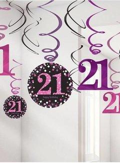 21 jaar 21 jaar hang slinger roze/zwart| J Style Deco.nl | De online  21 jaar