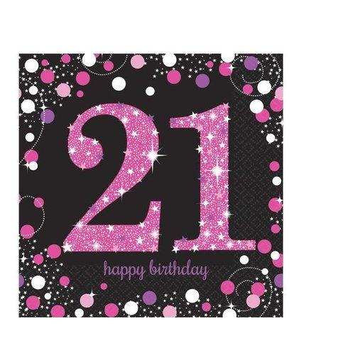 21 jaar servetten roze/zwart