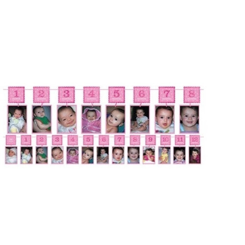 Roze 12 maanden slinger