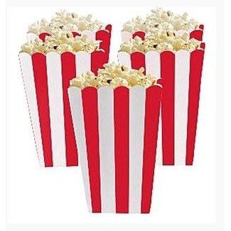 Popcorn bakjes rood/wit