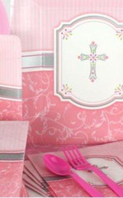 Communie roze feestartikelen