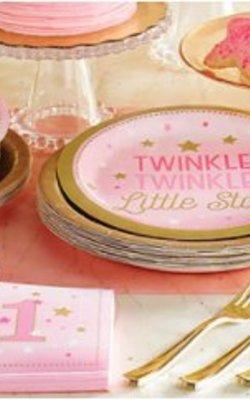 Twinkle twinkle little star feestartikelen roze