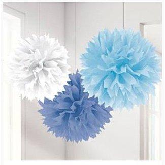 Pom Poms baby blauw/wit