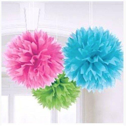 Pom poms roze/blauw/groen