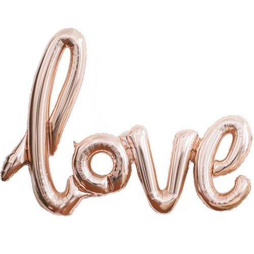 Love rose goud tekst ballon