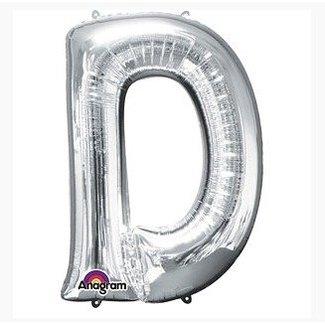 Letter ballon zilver D