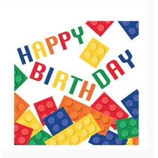 Lego servetten happy birthday