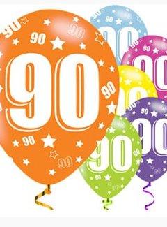 90 jaar 90 jaar ballonnen gekleurd   J Style Deco.nl Online feestwinkel  90 jaar