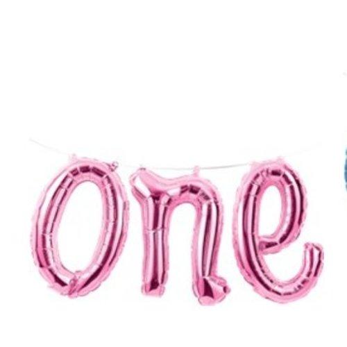 One roze tekst ballon