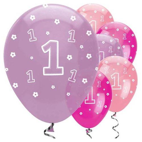 1 jaar roze paars ballonnen