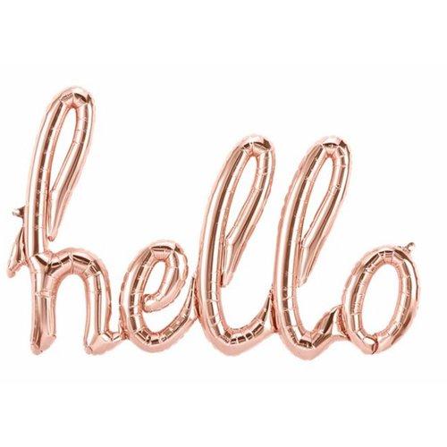Hello rose goud tekst ballon