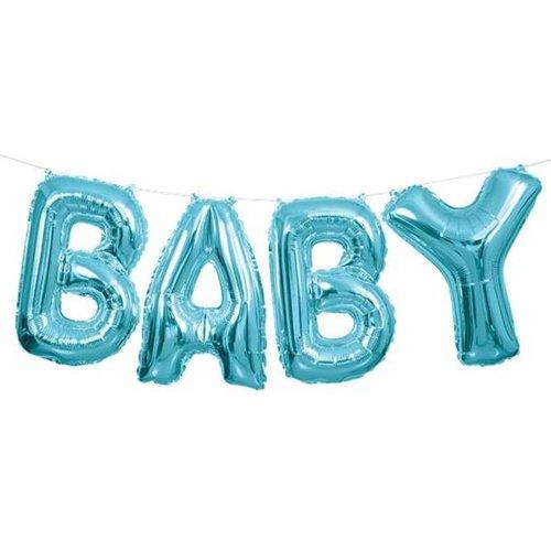 Baby tekst ballon slinger blauw