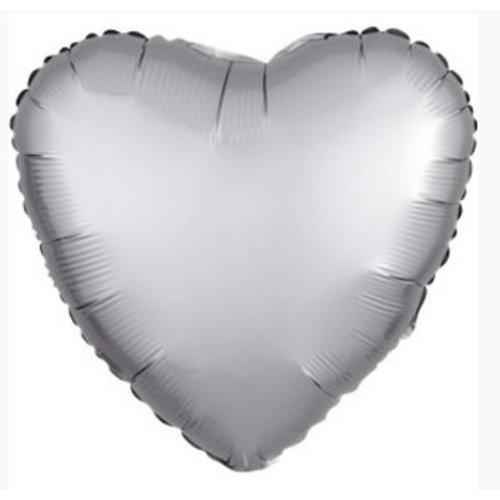 Hart ballon mat zilver