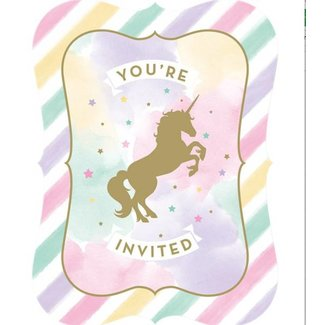 Unicorn pastel uitnodigingen
