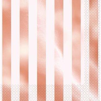 rose goud servetten streep