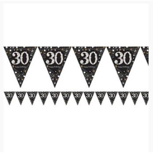 30 jaar vlaggetjes goud - zwart