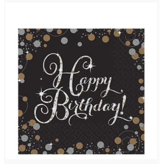 Happy birthday servetten goud - zwart
