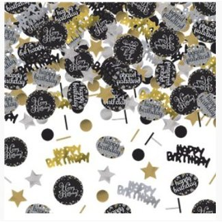 Happy birthday confetti goud zwart