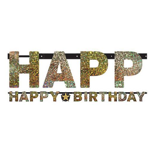 Happy birthday slinger glitter goud