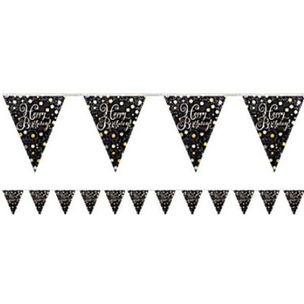 Happy birthday vlaggetjes goud zwart j style deco for Goud zwart versiering