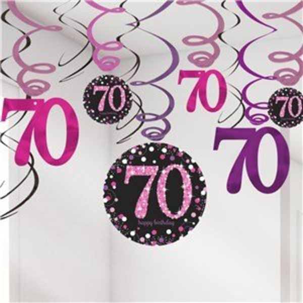 70 jaar slingers roze zwart party shop j style deco j style deco online feestwinkel - 70 geburtstag dekoration ...