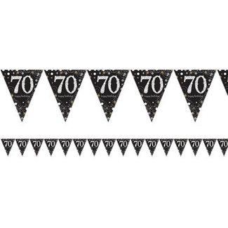 70 jaar vlaggetjes goud - zwart