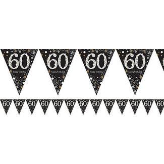 60 jaar vlaggetjes goud zwart