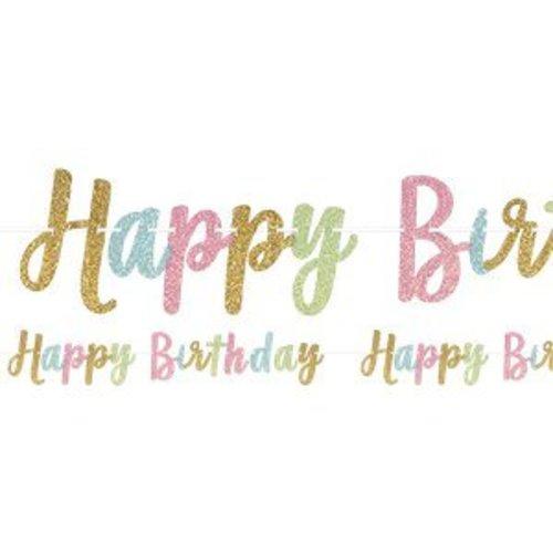 Happy birthday pastel glitter slinger